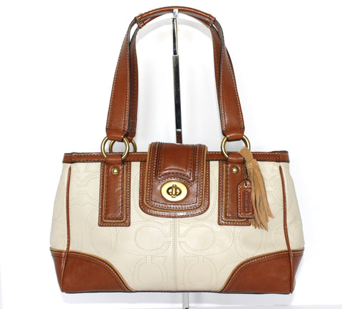 Brand New Coach Monogram Two Tone Leather Hand Bag - Joyce's Closet  - 1