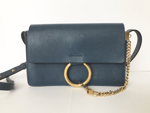 Chloe Faye Calf Skin Denim Blue Cross-Body Bag
