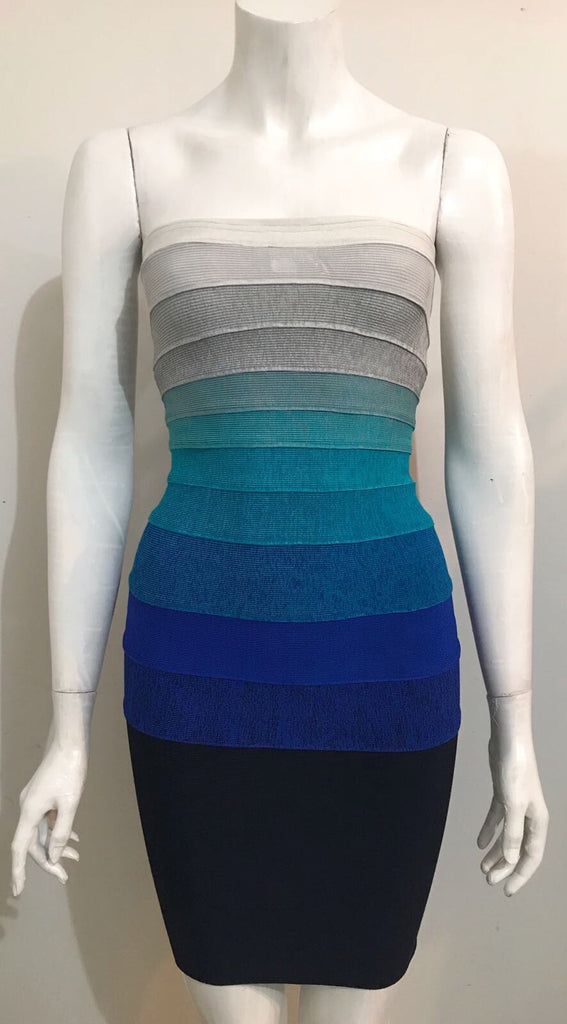 Guess by Marciano Blue Ombre Tube Bandage Dress Size XS