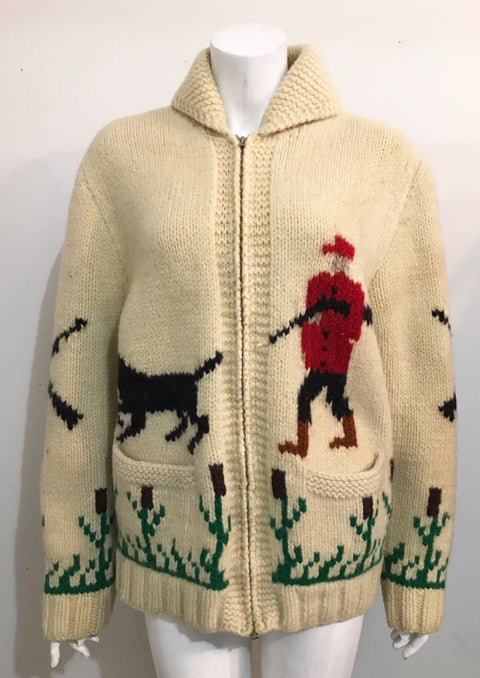 Vintage Cowichan Cream Sweater Jacket Size L/XL