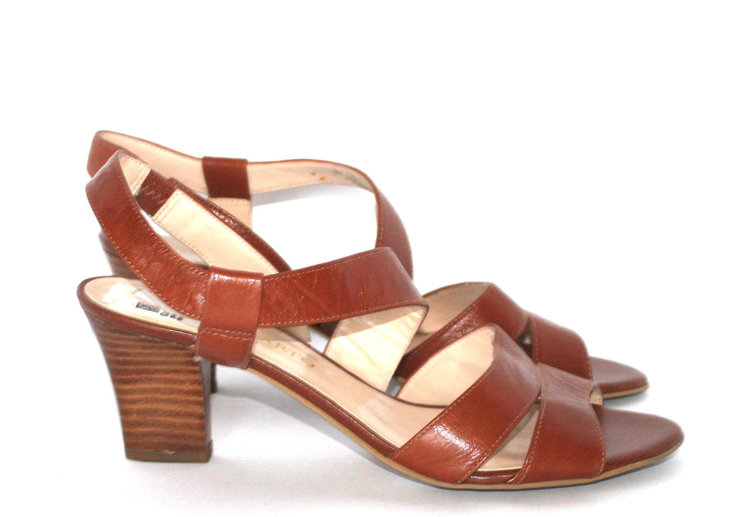 Franco Sarto Cognac Leather Strappy Sandals - Joyce's Closet  - 1