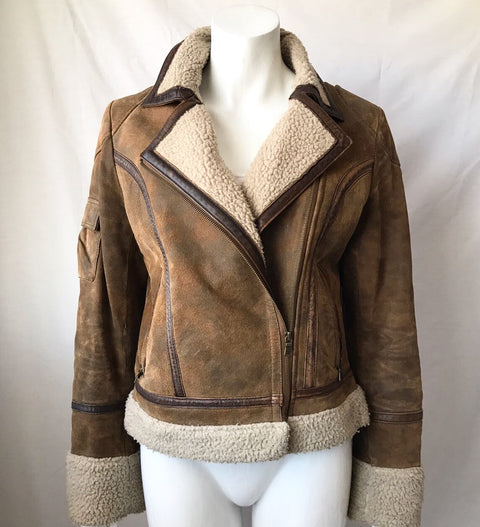 Vintage Mustang Brown Suede & Leather Moto Bomber Jacker Size M