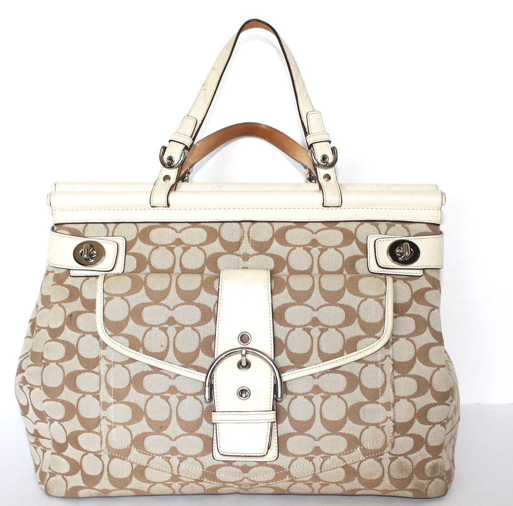 Coach Cream Canvas Monogram Tote - Joyce's Closet  - 1