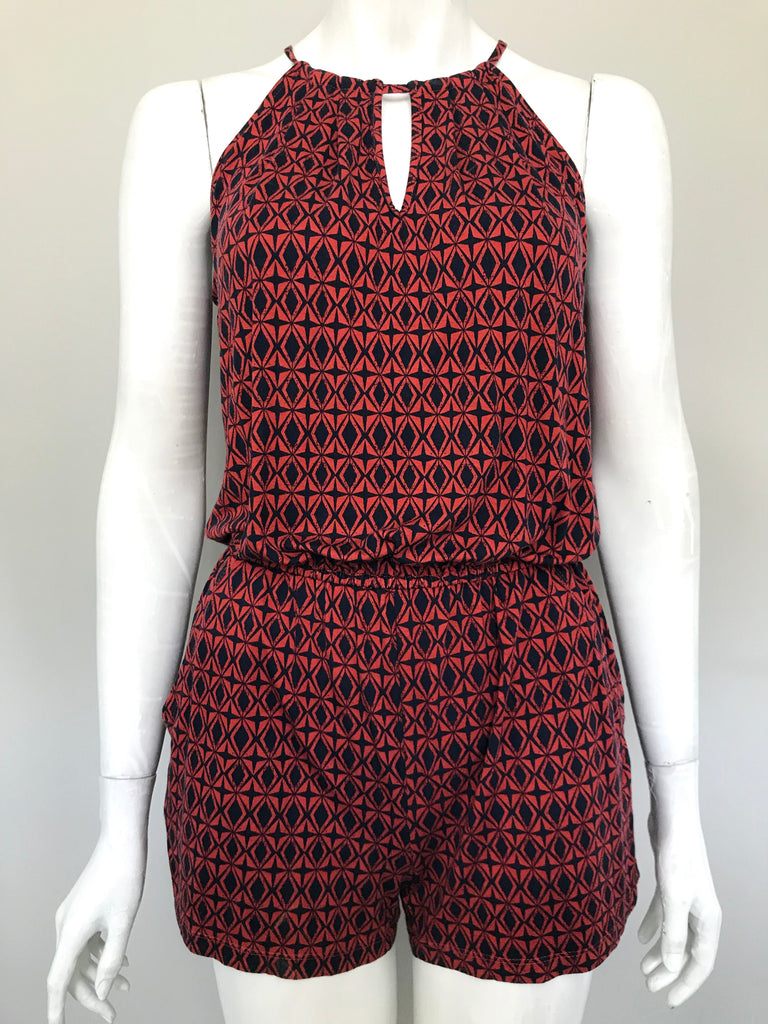 Banana Republic Red Printed Romper Size XS