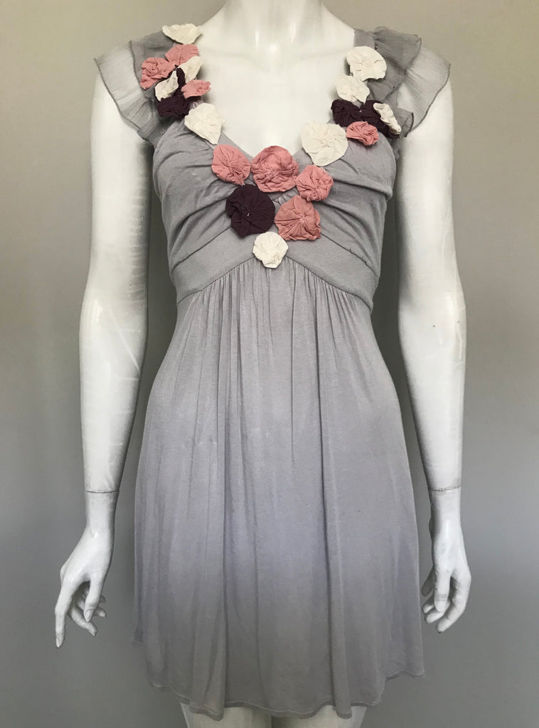 Pink Martini Grey Rosette Dress Size XS