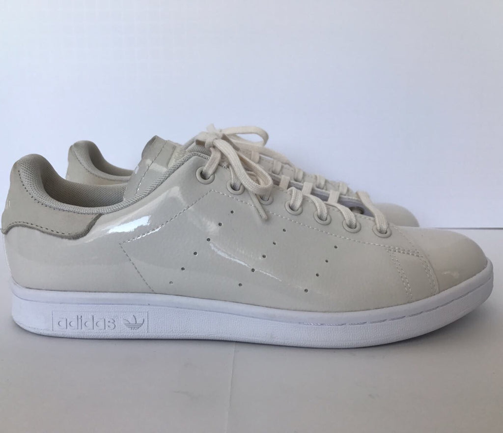 Adidas Chalk White Patent Leather Stan Smith Sneakers Size 10