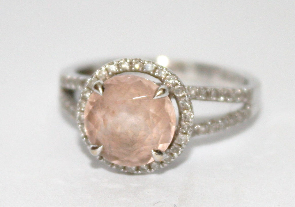 HALO 2.38ct Round Cut Morganite .35ct Pave Diamond 14K White Gold Ring - Joyce's Closet  - 1