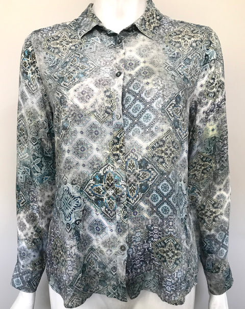 Brax Blue & Grey Printed Silk Button Up Shirt Size 38 US 6
