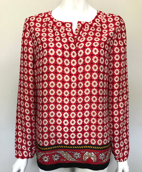 Anne Klein Red Printed Blouse Size S