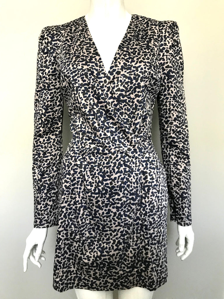 French Connection Blue & Grey Long Sleeve Animal Print Dress Size 8