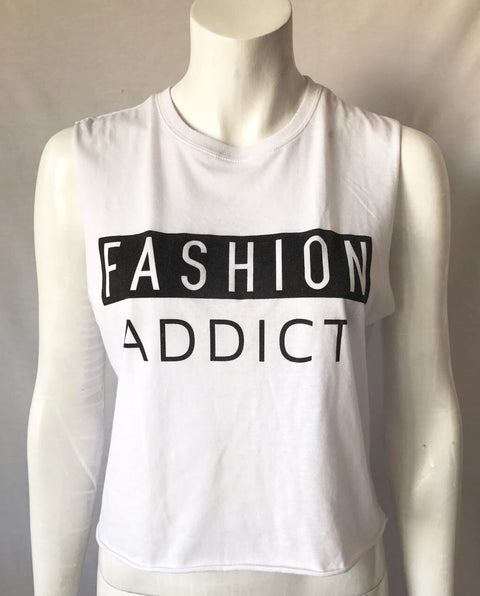 Fashion Addict White Crop Tee Size M