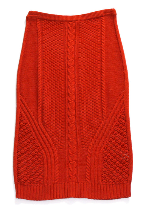 Sparrow by Anthropologie Orange Cable Knit Midi Sweater Skirt - Joyce's Closet  - 1