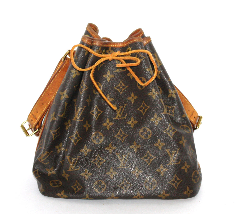 "Louis Vuitton Brown Coated Canvas Leather Monogram ""Petit Noe"" Bucket Bag - Joyce's Closet  - 1"