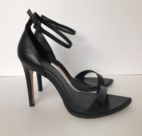 Zara Black Faux Leather Strappy Sandals Size 9.5