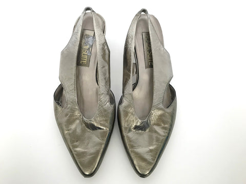 Vintage Plaza Suite Metallic Gold Pointed Toe Flats Size 8.5
