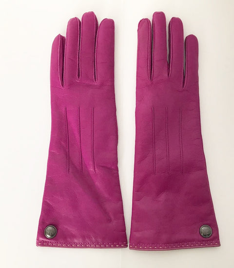 Coach Purple Long Leather Gloves Size 7