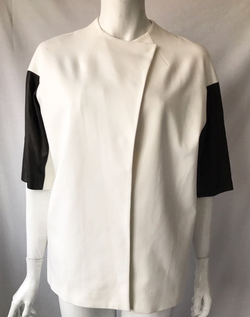 Alice & Olivia White Leather Sleeve Jacket Size XS