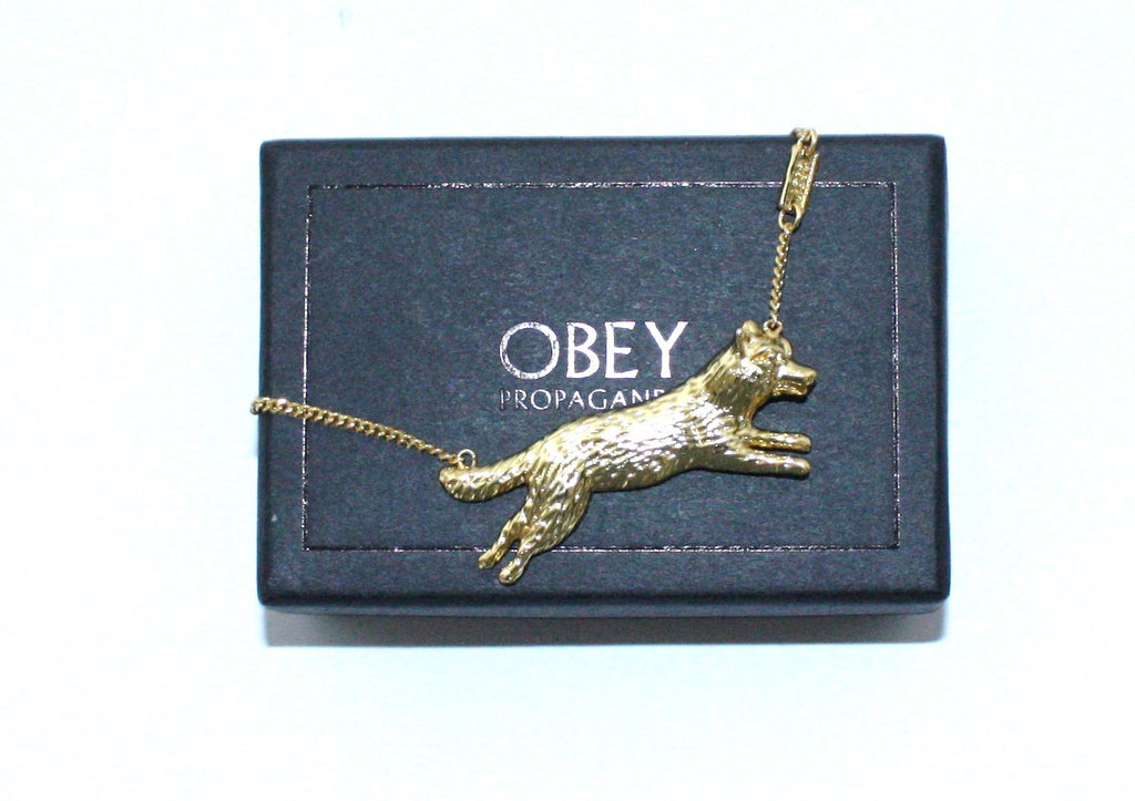 "Obey "" Wolf"" Pendant Gold Chain Necklace - Joyce's Closet  - 1"