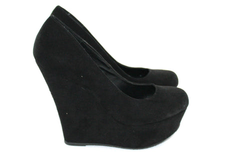 Brand New Steve Madden Black Wedge Round Toe Suede Pump - Joyce's Closet  - 1