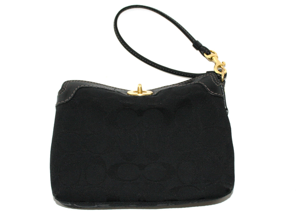 Coach Black Canvas Mini Wristlet Bag - Joyce's Closet  - 1