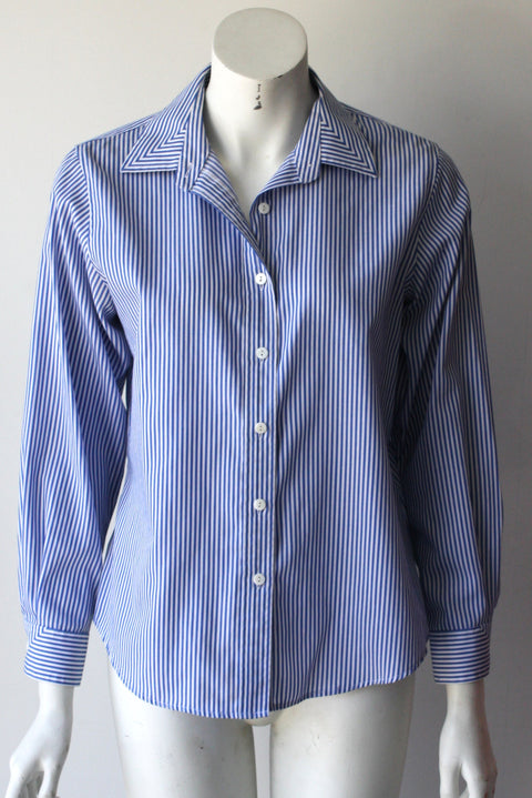 Foxcroft Blue  Stripped Button Down Long Sleeve Boyfriend Shirt - Joyce's Closet  - 1