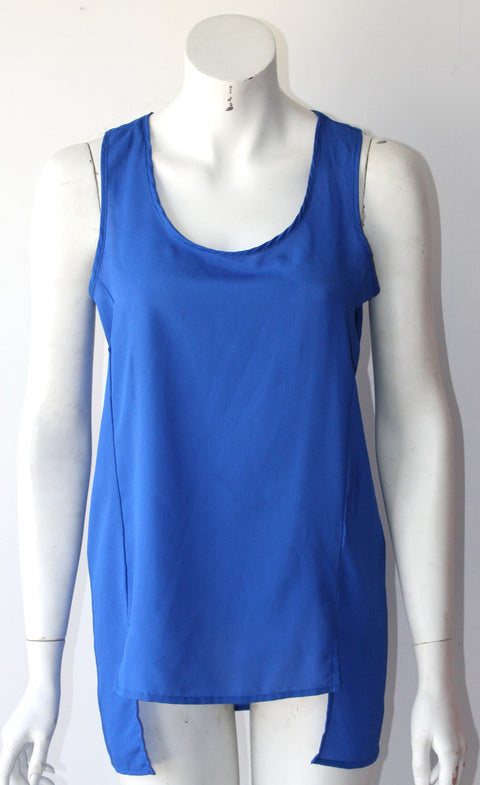 HIP Blue  Sleeveless Assymetrical Blouse - Joyce's Closet  - 1