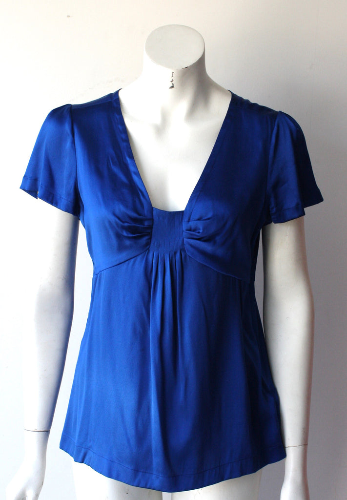 Banana Republic Cobalt Blue Silk Blouse - Joyce's Closet  - 1