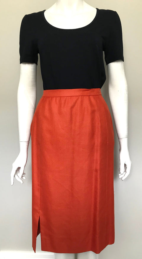 Vintage Orange Linen Pencil Skirt Size S/M