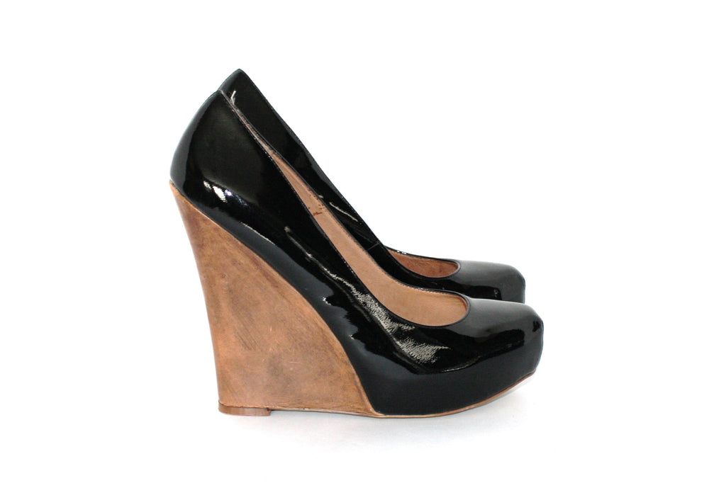 ZIGiny Patent Leather Wooden Wedge Pump - Joyce's Closet  - 1
