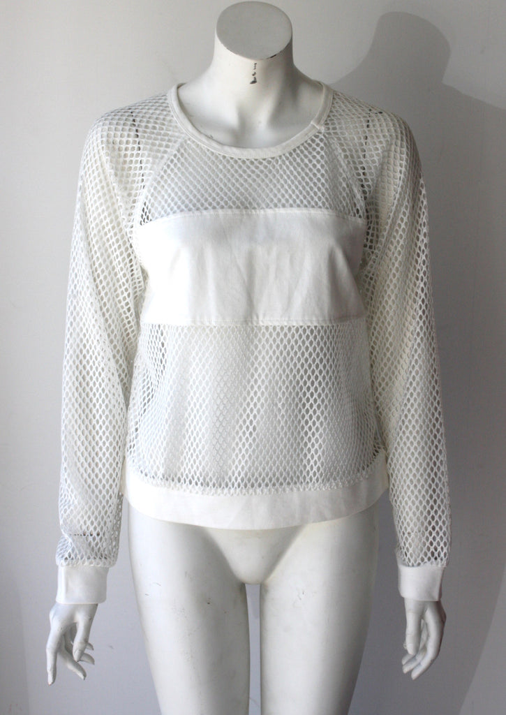 Nameless Loong Sleeve White Mesh SweatShirt - Joyce's Closet  - 1