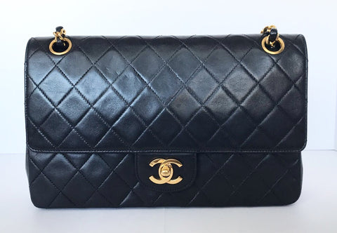 Vintage Chanel Black Quilted Medium Lambskin Flap Bag