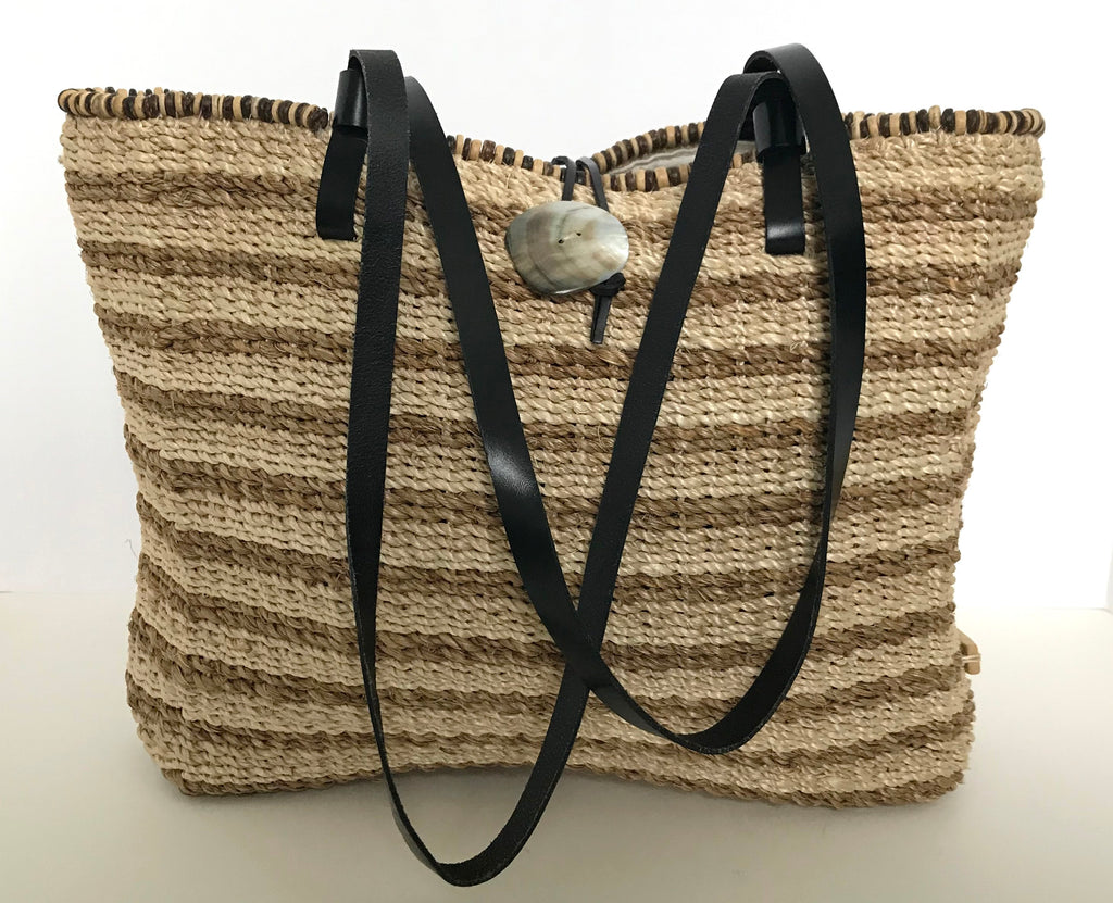 Nine West Brown Woven Straw Tote