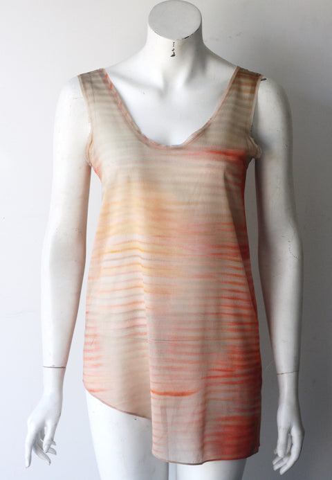 Helmut Lang Salmon Pink Multi Color Sheer Assymetrical Silk Tank - Joyce's Closet  - 1
