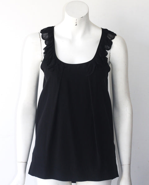Wilfred Black Scallop Collar Silk Tank - Joyce's Closet  - 1