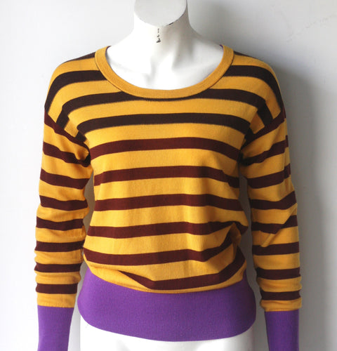 Brand New Marc By Marc Jacob Yasmin Yellow Gold & Purple Sweater - Joyce's Closet  - 1