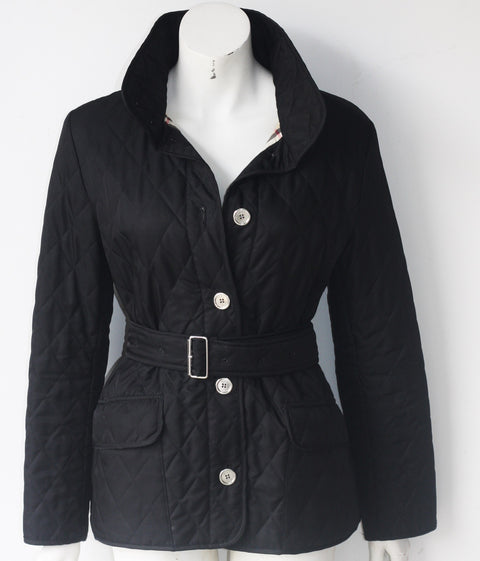 Burberry London Black Belted Quilted Jacket - Joyce's Closet  - 1