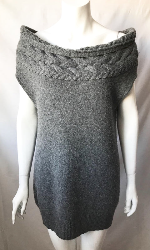 BCBG Max Azria Grey Off Shoulder Knit Sweater Size S