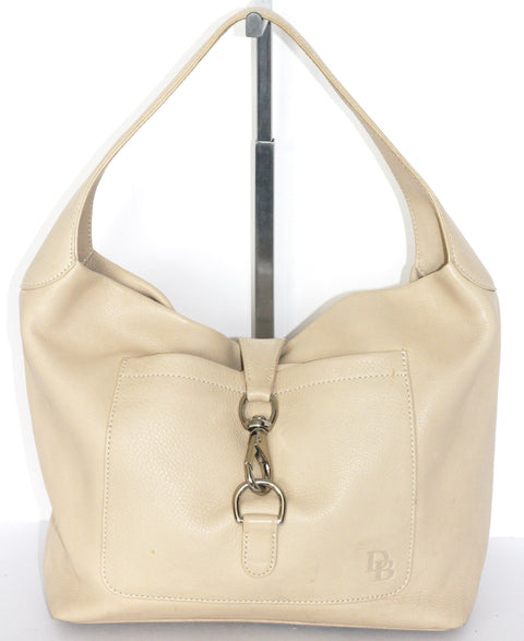 Dooney & Bourke Cream Pebbled Leather Hobo with Clip Lock Purse Shoulder Bag - Joyce's Closet  - 1
