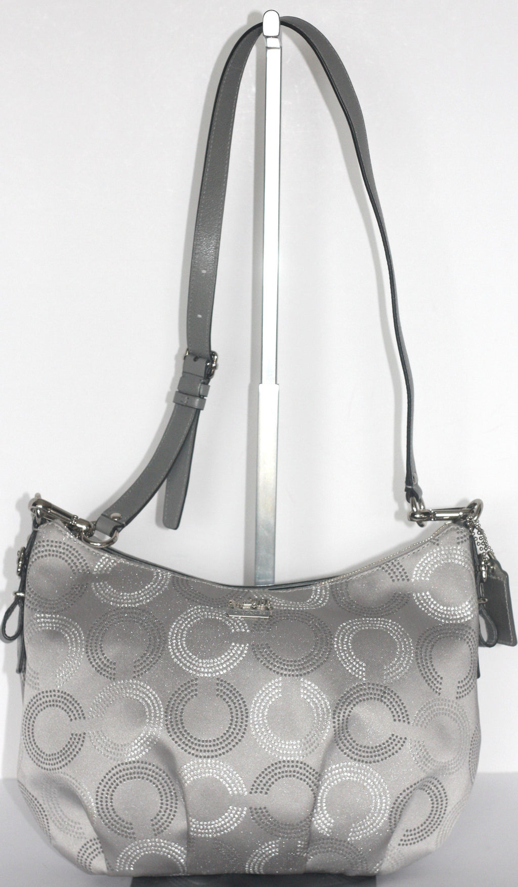 Brand New coach Silver & Grey Monogram Canvas Satchel - Joyce's Closet  - 1