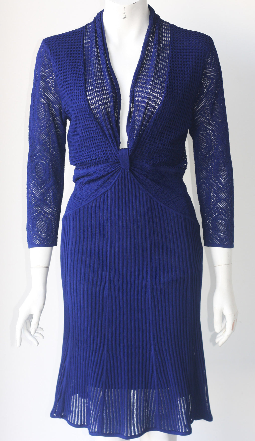 Catherine Malandrino Pointelle Royal Blue Open Knit Dress - Joyce's Closet  - 1