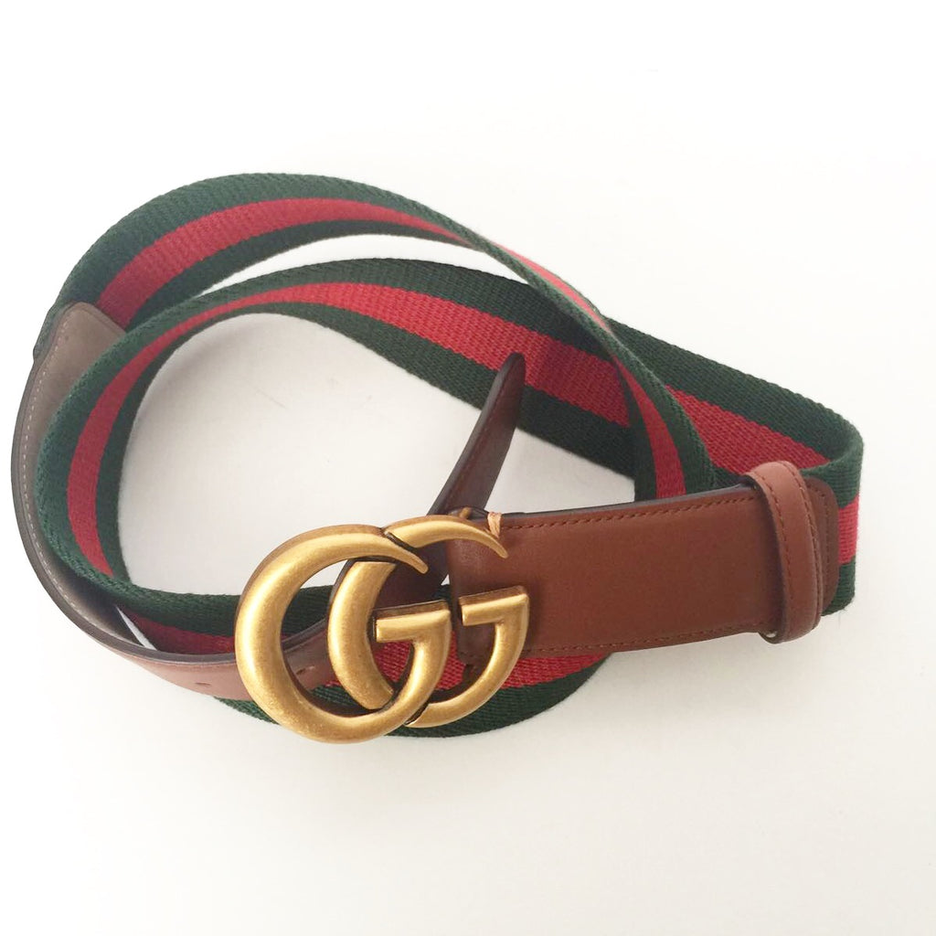 Brand New Gucci GG Red & Green Canvas Brown Leather Belt