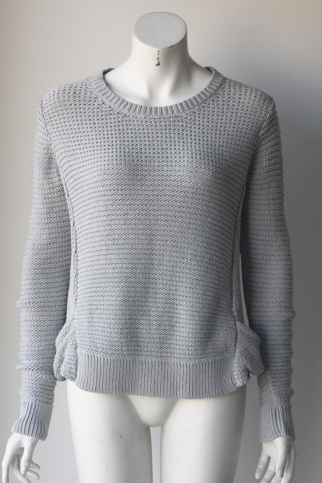 Signal Light Grey Cable Knit Long Sleeve Sweater - Joyce's Closet  - 1