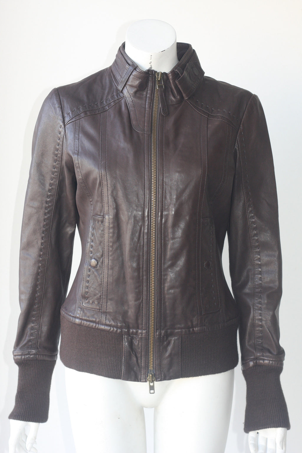 Aritzia Mackage Dark Brown Bomber Moto Leather Jacket - Joyce's Closet  - 1
