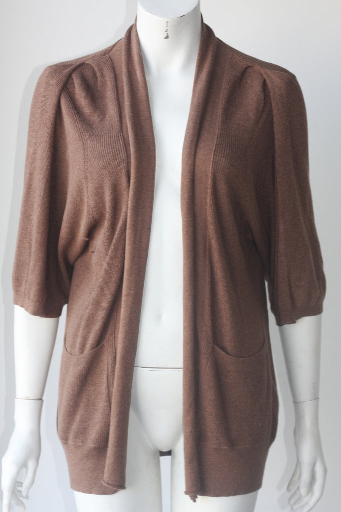 Wilfred Brown Draped Shawl Sweater - Joyce's Closet  - 1