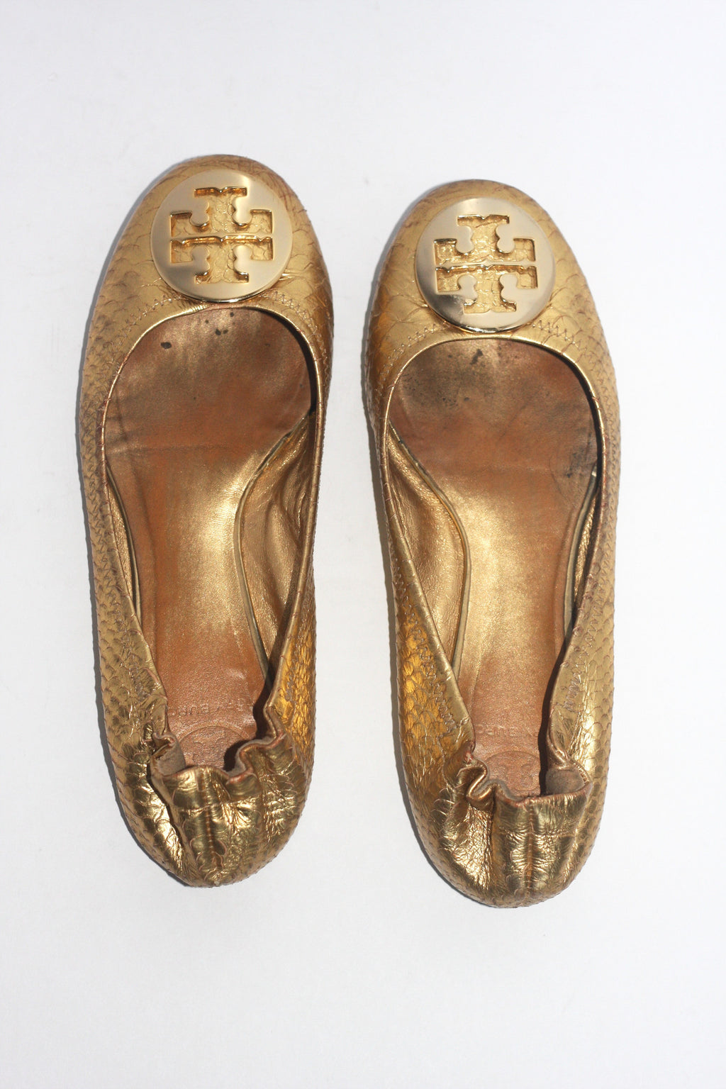 Tory Burch Metallic Gold Reva Snakeskin Leather Flats - Joyce's Closet  - 1
