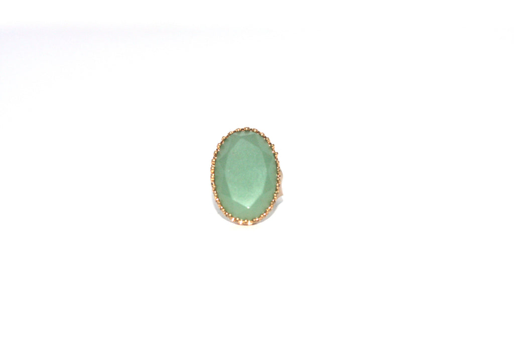 Vintage Style Jade Green Adjustable Gold Plated Cocktail Ring - Joyce's Closet  - 1