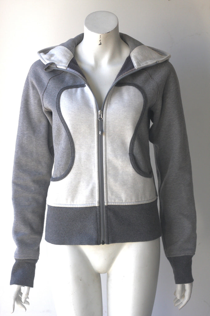 Lululemon Grey & White Scuba Hoodie Sweater - Joyce's Closet  - 1