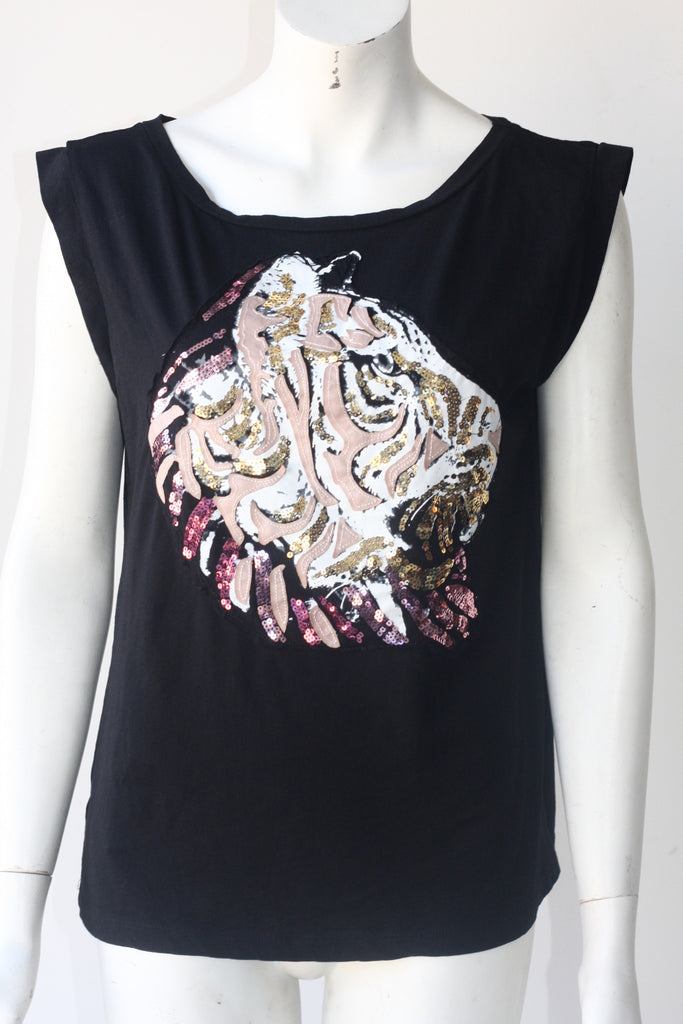MNG by Mango Black Sequin T Shirt - Joyce's Closet  - 1