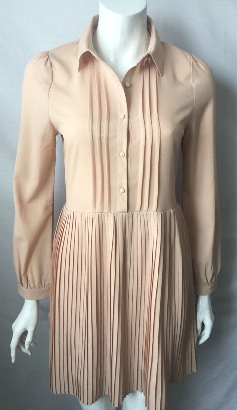 Vintage Kling Biege Long Sleeve Dress Size S