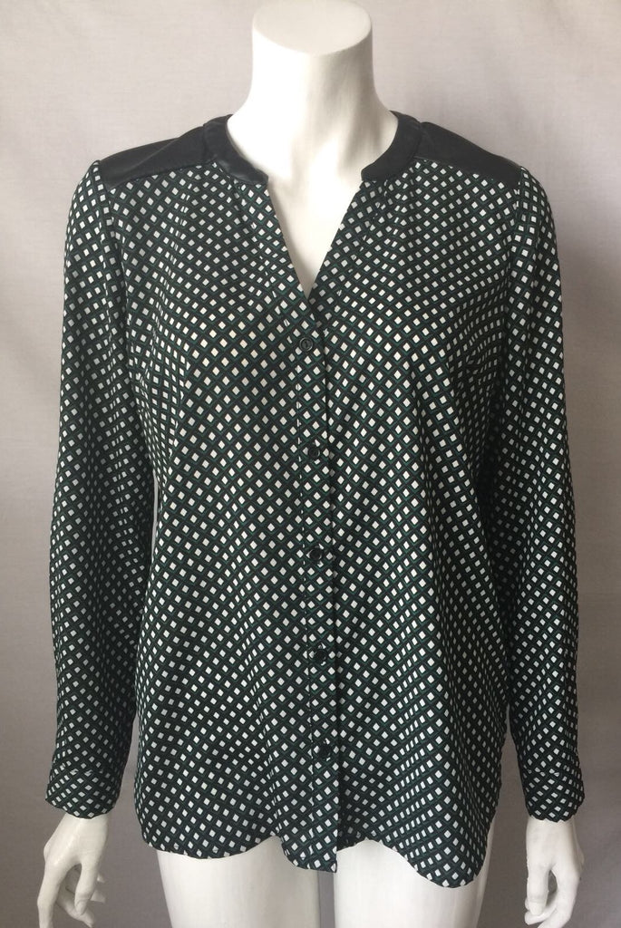 Brody Myles Green Print Long Sleeve Blouse Size M